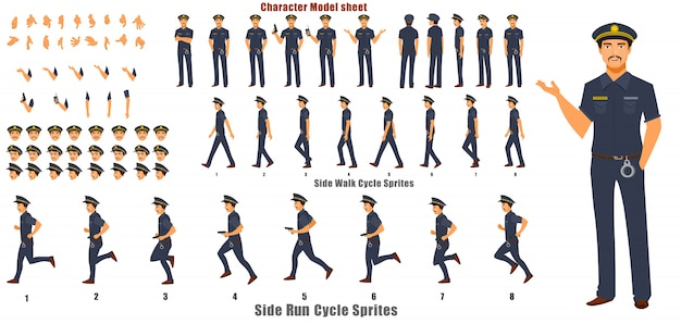 Politie karakter modelblad met loopcyclus animatie volgorde