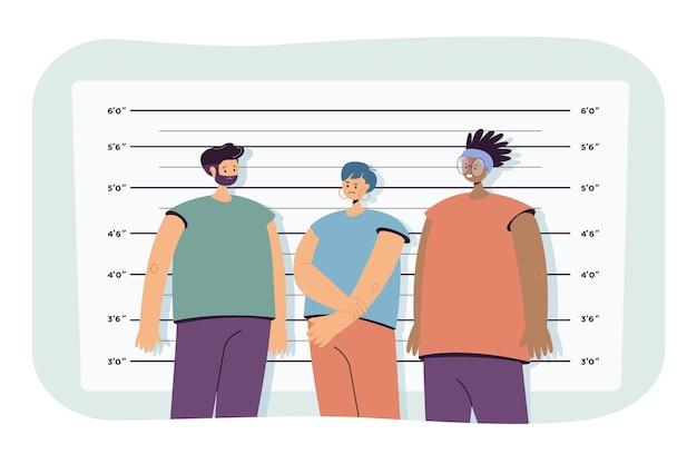 Politie line-up vlakke afbeelding