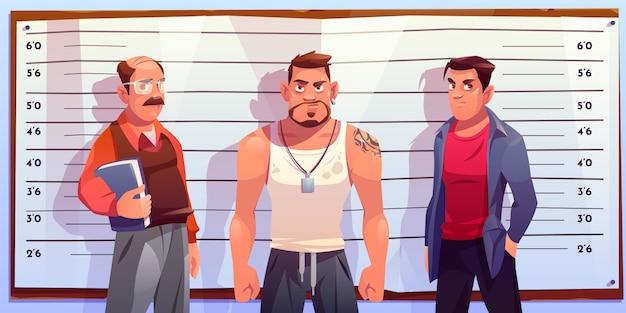 Politie line-up voor criminele identificatie illustratie