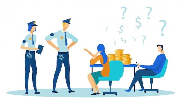 Politie mensen komen naar kantoor, bureau met munten.