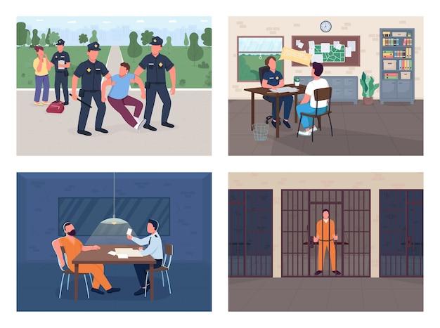 Politie-onderzoek egale kleur illustratie set arrestatie inbreker officer interview slachtoffer politieagent getuige en criminele stripfiguren met afdeling