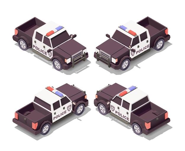 Politie pick-up auto met verschillende hoeken illustratie