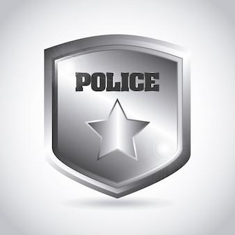 Politie plaat over grijze achtergrond vectorillustratie
