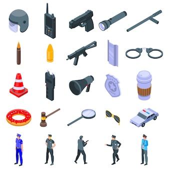Politie uitrusting iconen set