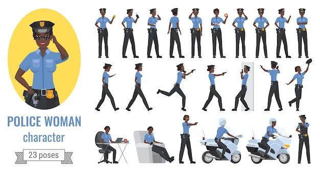 Politie zwarte afro-amerikaanse vrouwelijke officier vrouw verschillende poses gebaren set.