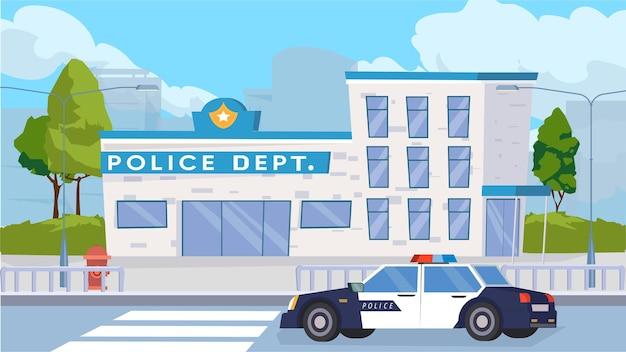Politieafdeling gebouw exterieur concept in platte cartoon design. modern politiegebouw, patrouillewagen op de weg, stadsstraat met bomen en oversteken. vector illustratie horizontale achtergrond