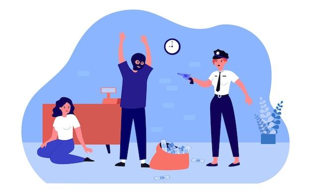 Politieagent bedreigt dief die bank berooft. beveiliging die arresterende man crimineel in masker betrapt. georganiseerd geweld dat geld steelt. cartoon platte vectorillustratie. webpagina landing.