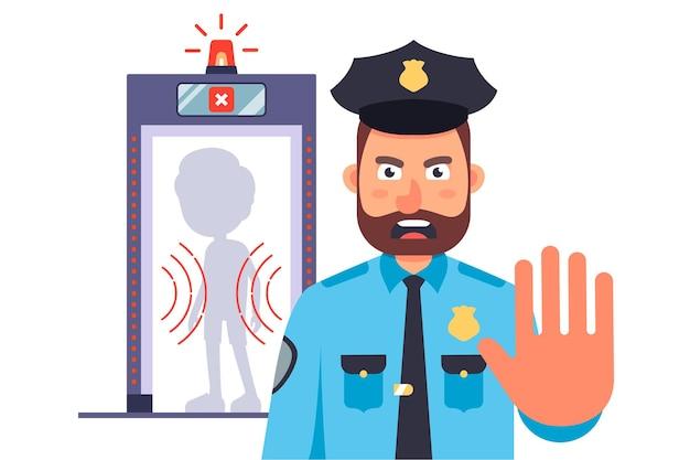 Politieagent bij de ingang van de luchthaven. een verbod om de grens over te steken. vlak
