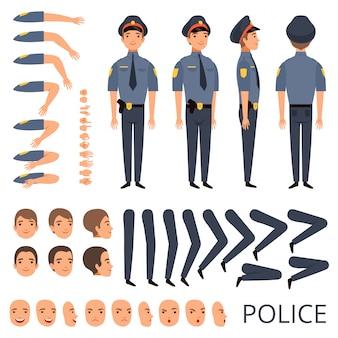 Politieagent constructor, beveiliging bodyguard beroep karakter creatie kit met shotgun verschillende poses cap officier uniform