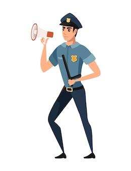 Politieagent die door een megafoon schreeuwt die een donkerblauwe broek draagt, een lichtblauw overhemd, een stripfiguurontwerp, een platte vectorillustratie