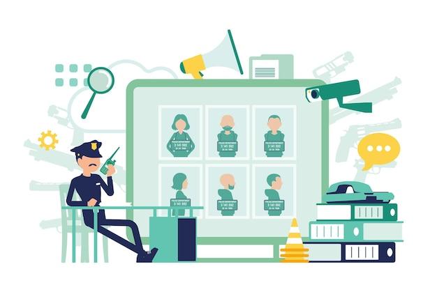 Politieagent die in een politiebureaubureau werkt. mannelijke officier zittend op de werkplek, professioneel ontwerp van symbolen en gereedschappen, gezochte poster met criminelen. vector abstracte illustratie, gezichtsloze karakters