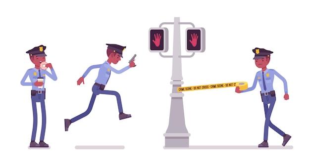 Politieagent dient en beschermt stadsbanner