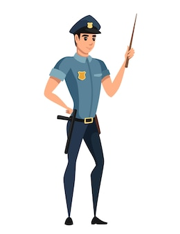 Politieagent dragen donkerblauwe broek lichtblauw shirt cartoon karakter ontwerp platte vectorillustratie