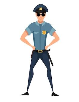 Politieagent dragen donkerblauwe broek lichtblauw shirt en zwarte zonnebril cartoon karakter ontwerp platte vectorillustratie
