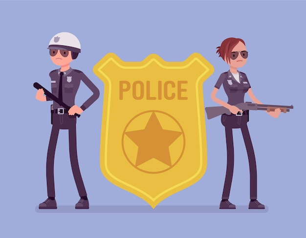 Politieagent embleem en politieagenten