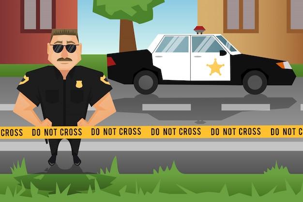 Politieagent en patrouillewagen