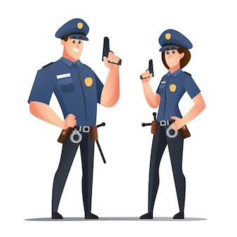 Politieagent en politieagenten die stripfiguren met wapens vasthouden