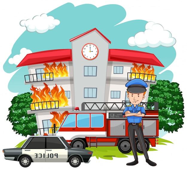 Politieagent en vuur in het gebouw