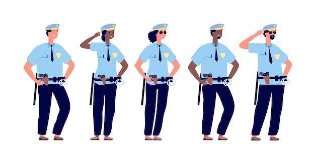 Politieagent groep. politieagenten, politieman en politievrouw in politieuniform