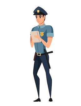 Politieagent houdt het verkeersovertredingsticket vast en draagt een donkerblauwe broek, een lichtblauw shirt, een stripfiguurontwerp, een platte vectorillustratie