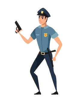 Politieagent houdt het wapen vast en draagt een donkerblauwe broek, een lichtblauw shirt, een stripfiguurontwerp, een platte vectorillustratie