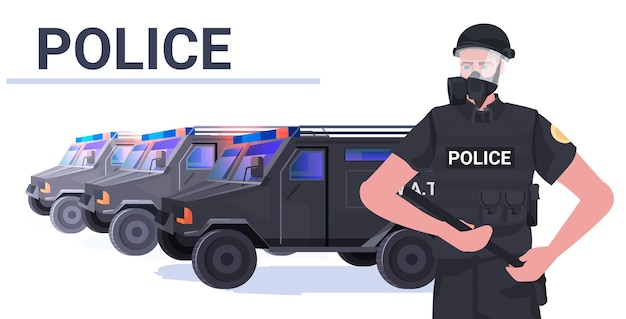 Politieagent in volle tactische uitrusting oproerpolitieagent met wapenstok demonstranten