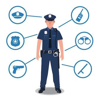 Politieagent met politiemateriaal. radio, knuppel, insigne, pistool, handboeien, hoed