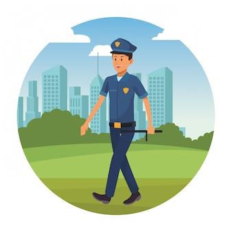 Politieagent met uniform