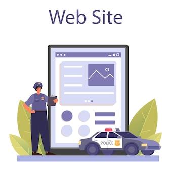 Politieagent online service of platform. detective die ondervraging doet om een misdaad te onderzoeken. officier patrouilleert door de stad en regelt het verkeer. website. platte vectorillustratie