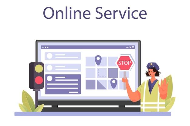 Politieagent online service of platform. detective die ondervraging maakt