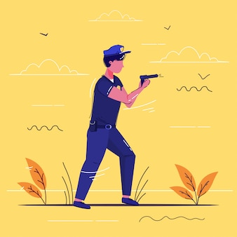 Politieagent permanent met pistool politieagent in uniform houden wapen veiligheidsinstantie justitie lage dienst concept schets volledige lengte