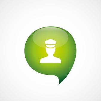 Politieagent pictogram groen denk zeepbel symbool logo, geïsoleerd op een witte achtergrond