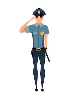 Politieagent salueren en dragen donkerblauwe broek lichtblauw shirt cartoon karakter ontwerp platte vectorillustratie