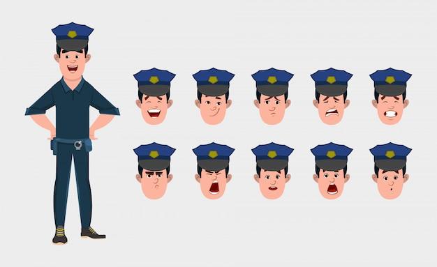 Politieagent stripfiguur met verschillende gezichtsemoties en lip sync. teken voor aangepaste animatie.