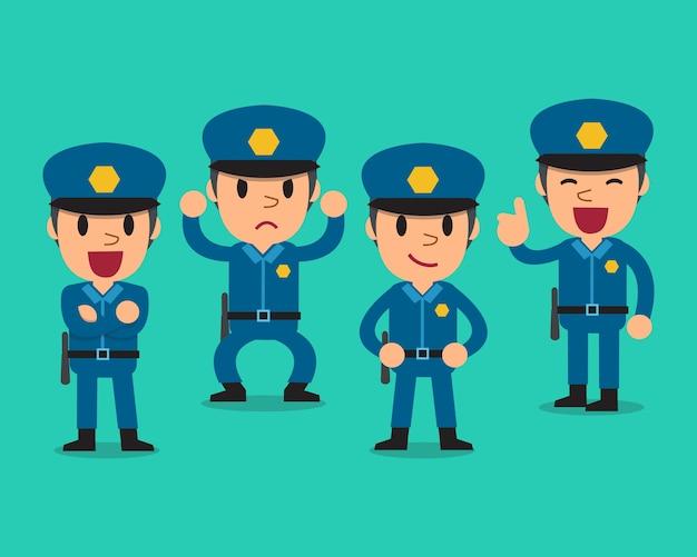 Politieagent stripfiguur poses