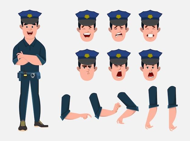 Politieagent stripfiguur set voor uw animatie, ontwerp of beweging met verschillende gezichtsemoties en handen.