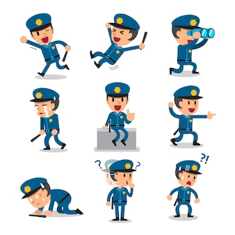 Politieagent stripfiguur vormt