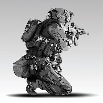 Politieagent tactische schieten illustratie. gewapende politie militaire voorbereidingen om te schieten met automatisch geweer.