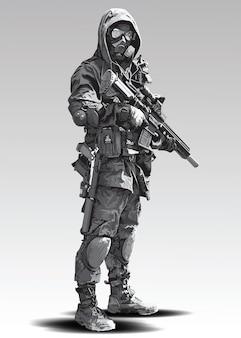 Politieagent tactische shoot illustratie. gewapend politiemilitair dat voorbereidingen treft om met automatisch geweer te schieten.