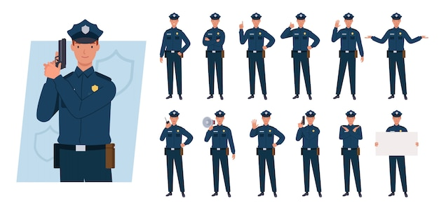 Politieagent tekenset. verschillende poses en emoties.