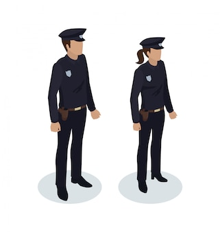 Politieagente en politieagent illustratie
