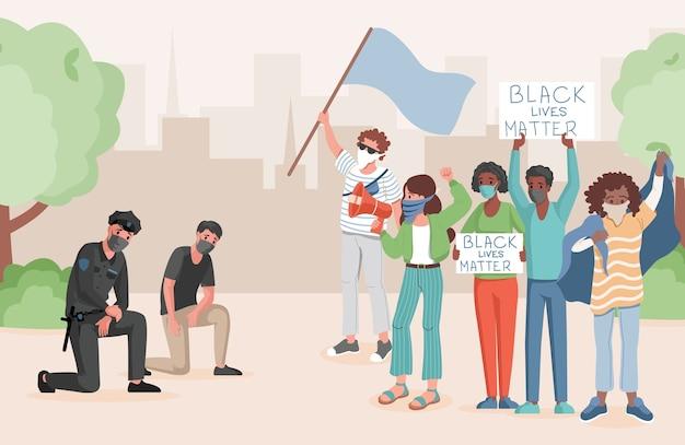 Politieagenten die een knie nemen voor protesterende mensen in de vlakke afbeelding van het stadspark. mensen die elkaar ontmoeten, vlaggen en spandoeken met zwarte levens vasthouden, zijn belangrijk voor woorden. stop racisme concept.