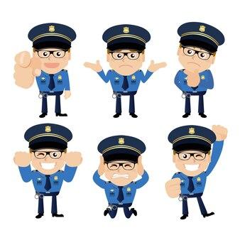 Politieagenten in verschillende poses
