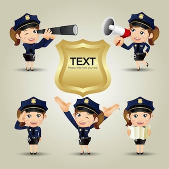 Politieagenten in verschillende poses Premium Vector