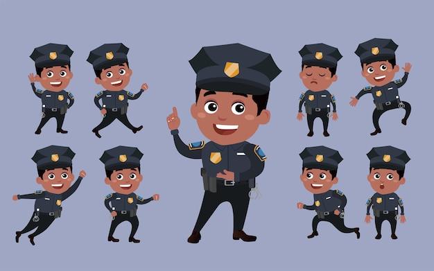 Politieagenten met verschillende poses