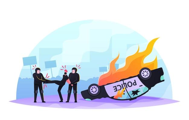 Politieagentenpersonages arresteren agressieve mannelijke plunderaar met verborgen gezicht in de buurt van brandende auto op straat. v.