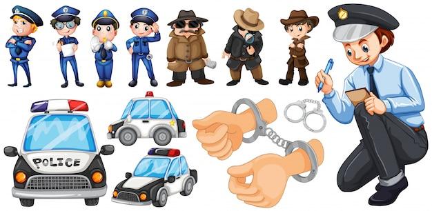 Politieambtenaren en politieauto stellen illustratie