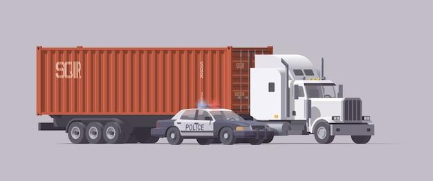 Politieauto en grote semi-vrachtwagen