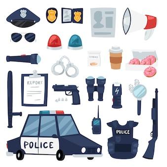 Politiebeleid tekenen van politieagent en politiewagen illustratie set of politieofficieren kogelvrij vest en handboeien in politiebureau symbolen geïsoleerd op achtergrond