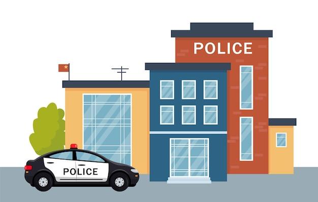 Politiebureau gebouw buitenkant met politieauto. stadspolitie gevel en voertuig